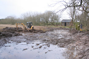 Picture of clearance work at Drumore Pond, December 2009, 22KB